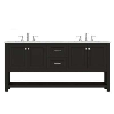 Wilmington 72 in. W x 34.2 in. H x 22 in. D Bath Vanity in Espresso with Marble Vanity Top with White Basin