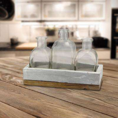8.75 in. x 6 in. Clear Bottles with Cement and Wood Tray (Set of 3)
