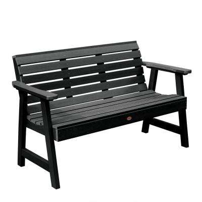Weatherly 48 in. 2-Person Black Recycled Plastic Outdoor Garden Bench