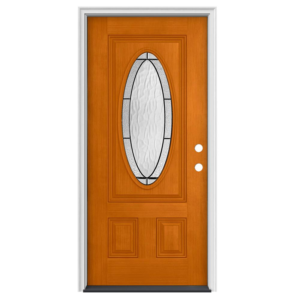 Jeld Wen 34 In X 80 In 3 4 Oval Lite Wendover Saffron Stained Fiberglass Prehung Left Hand