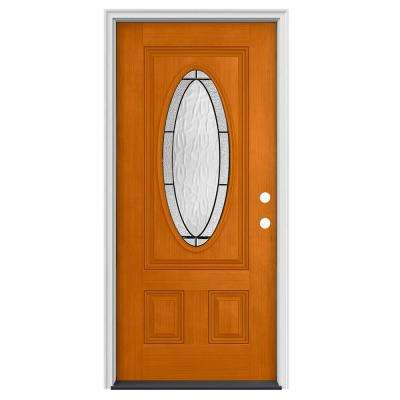 36 in. x 80 in. 3/4 Oval Lite Wendover Saffron Stained Fiberglass Prehung Left-Hand Inswing Front Door