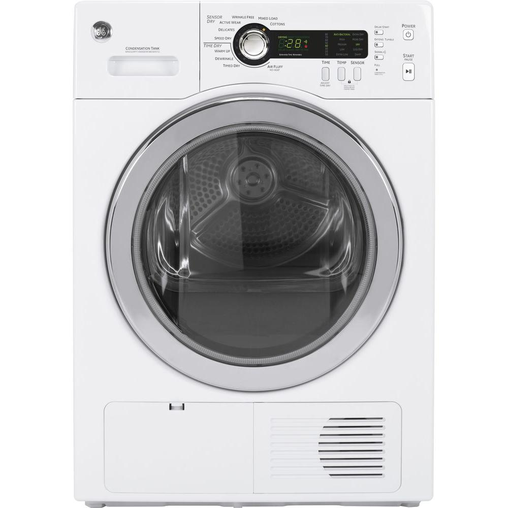 GE 4.0 cu. ft. 24 in. Ventless Condenser Electric Dryer in White