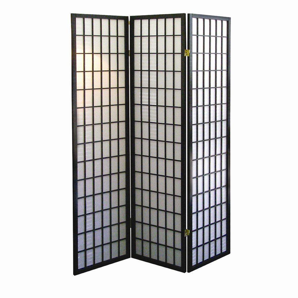 5.83 ft. Black 3-Panel Room Divider