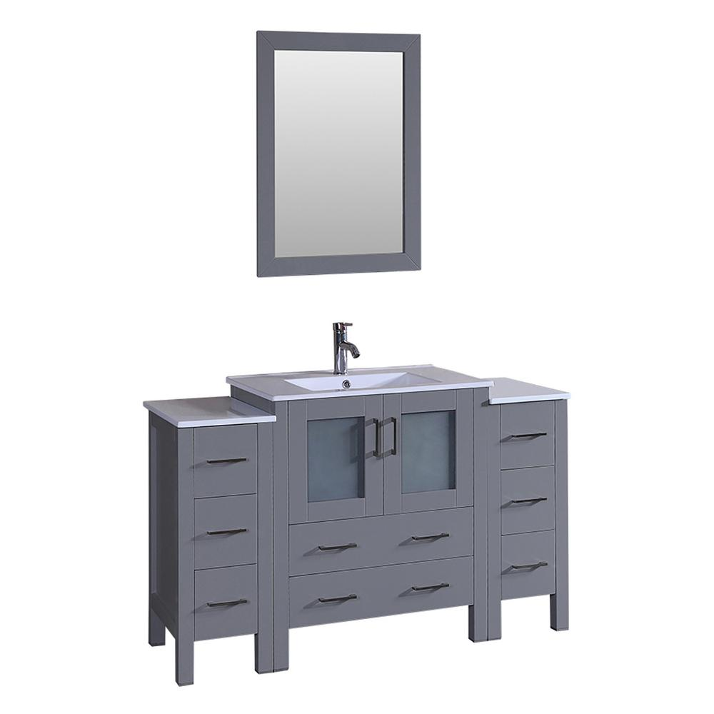 Bosconi 54 in. Single Vanity in Gray with Vanity Top in White in White with White Basin and Mirror