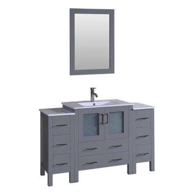 54 in. Single Vanity in Gray with Vanity Top in White in White with White Basin and Mirror