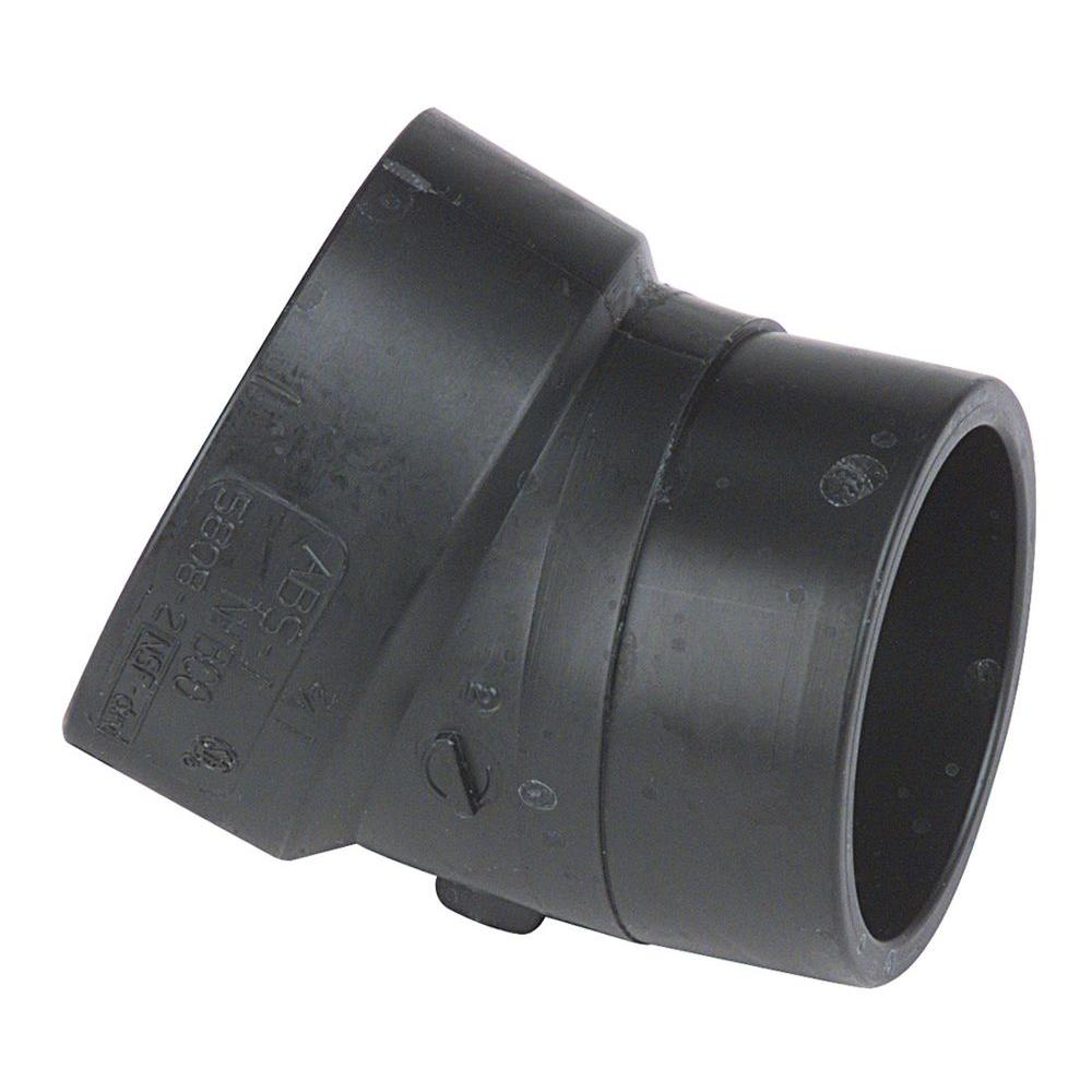 2 in. ABS DWV 22-1/2-Degree Spigot x Hub Elbow