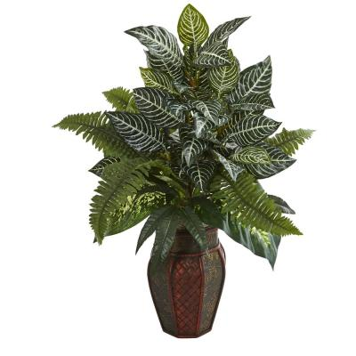 Indoor Mixed Greens Artificial Plant in Decorative Planter