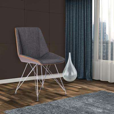 Pandora 33 in. Charcoal Fabric and Chrome Finish Dining Chair