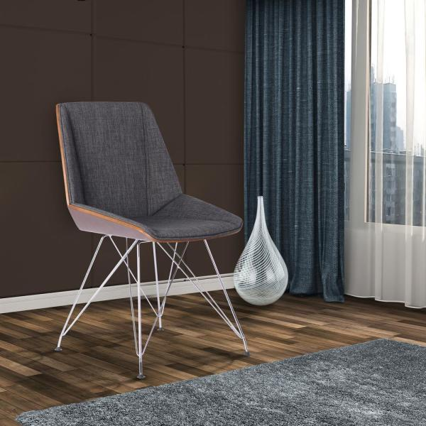 f7e085f98 Armen Living Pandora 33 in. Charcoal Fabric and Chrome Finish Dining Chair