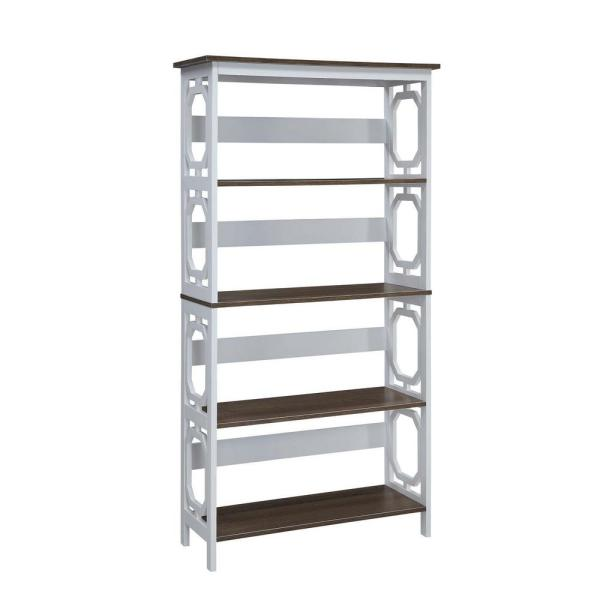 59.75 in. White/Gray Wood 4-shelf Etagere Bookcase with Open Back
