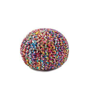 Rainbow Connection Multicolored 16 in. Round Pouf