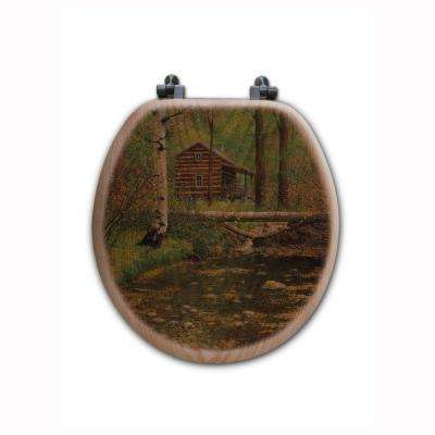 Autumn Hideaway Round Closed Front Wood Toilet Seat in Oak Brown