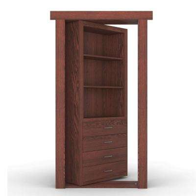 32 in. x 80 in. Flush Mount Assembled Dresser Door Oak Cherry Stained Right-Hand Outswing