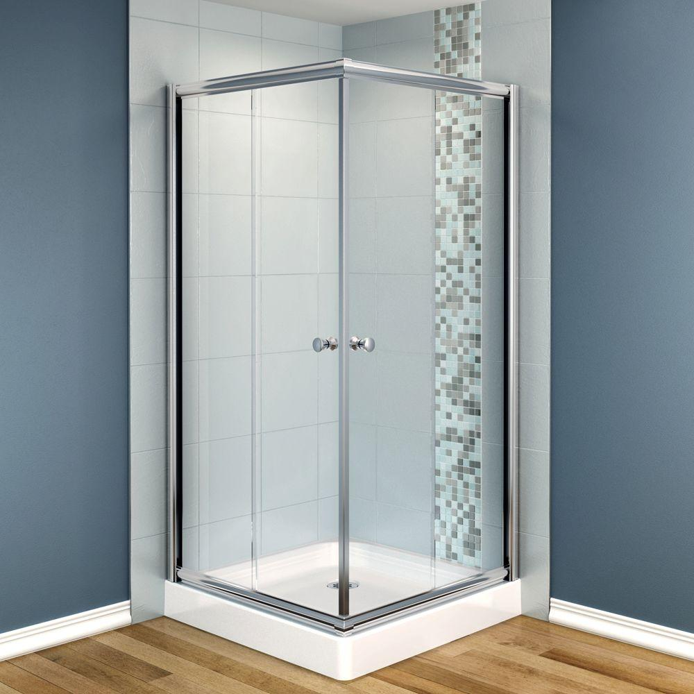 MAAX Centric 32 in. x 32 in. x 70 in. Frameless Corner Shower Door in Clear Glass and Chrome Finish-DISCONTINUED