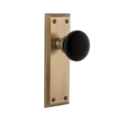 Fifth Avenue Plate Single Dummy Coventry Door Knob in Vintage Brass