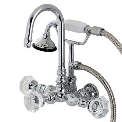 Vintage Crystal 3-3/8 in. Center 3-Handle Claw Foot Tub Faucet with Handshower in Chrome