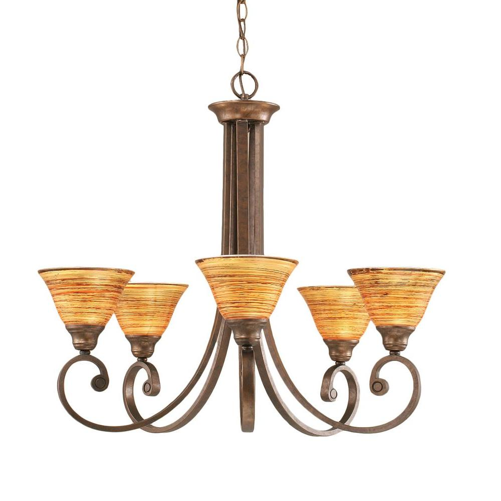Filament Design Concord Series 5-Light Bronze Chandelier with Fire Saturn Glass Shade
