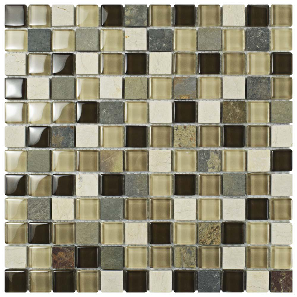 Merola Tile Tessera Square Nassau 11-5/8 in. x 11-5/8 in. x 8 mm Glass and Stone Mosaic Tile