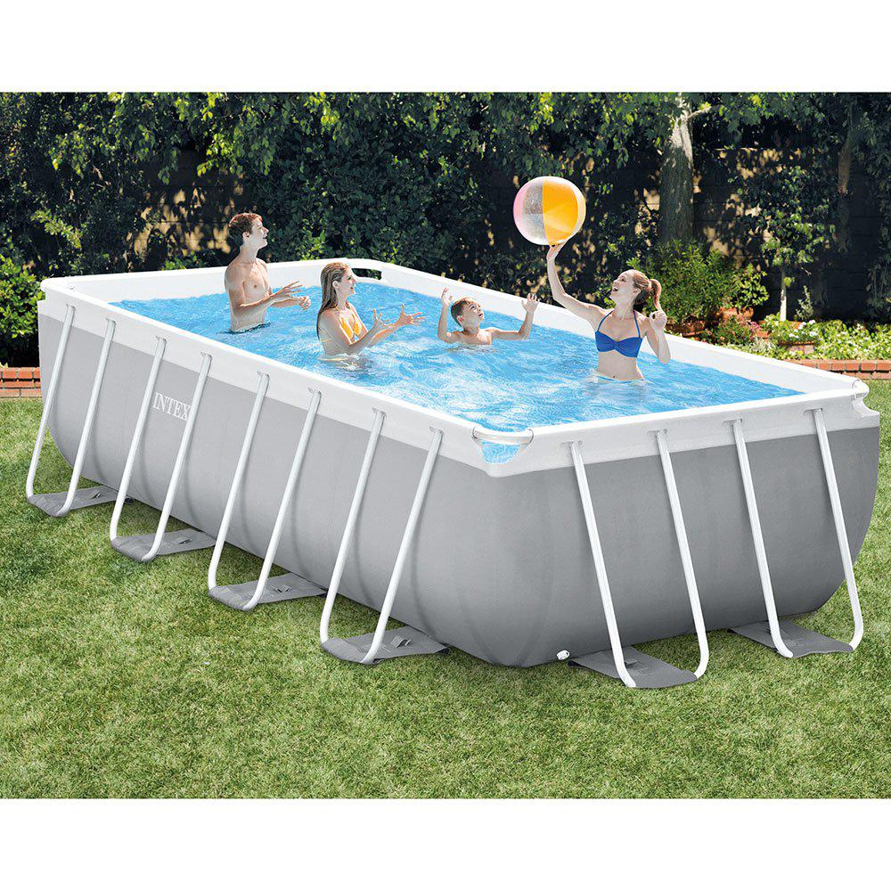 Intex 16 ft x 8 ft x 42 in d rectangular metal frame - 8 foot above ground swimming pools ...