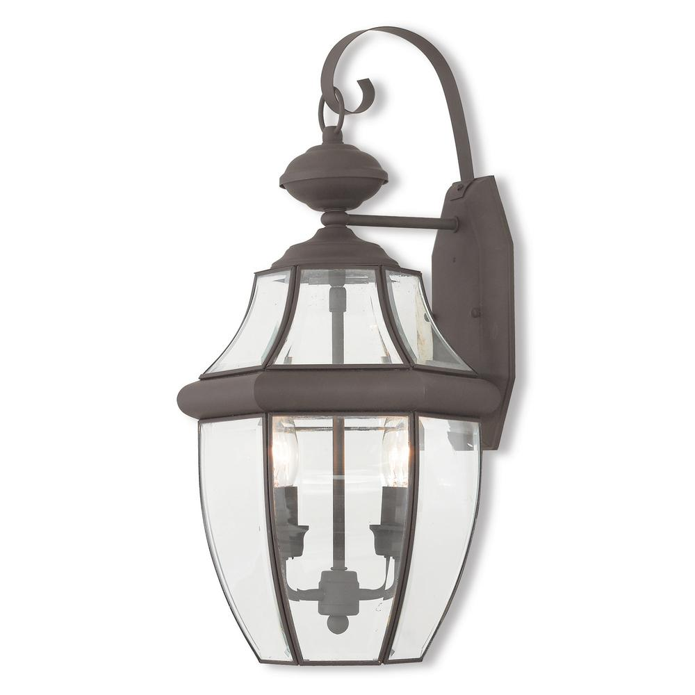 Monterey 2-Light Bronze Outdoor Wall Mount Lantern