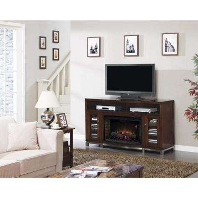 Wesleyan 66 in. Media Mantel Electric Fireplace in Cherry