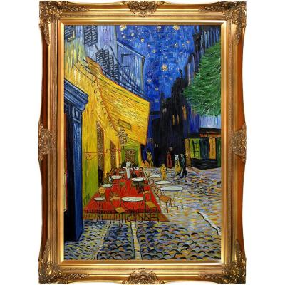 "44 in. x 32 in. ""Cafe Terrace at Night (Luxury Line) with Victorian Gold Frame"" by Vincent Van Gogh Framed Wall Art"