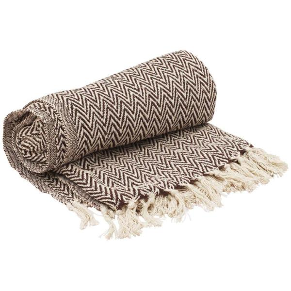 Benzara Brown and White Soft Knitted Cotton Throw Blanket with Tassels