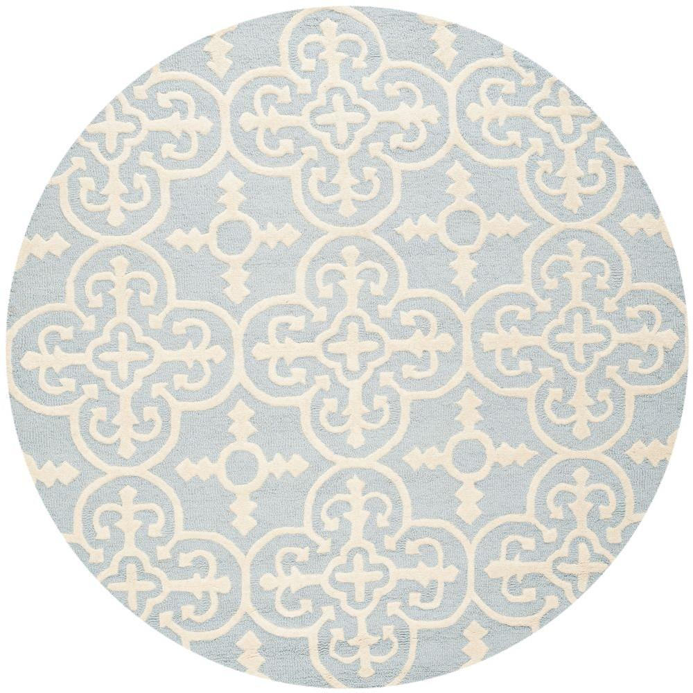 Cambridge Light Blue/Ivory 8 ft. x 8 ft. Round Area Rug