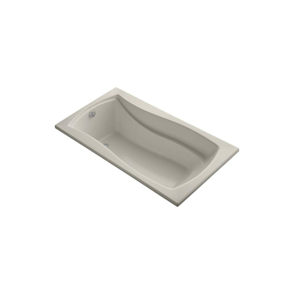 KOHLER Mariposa VibrAcoustic 5.5 ft. Rectangle Reversible Drain Soaking Tub in Sandbar