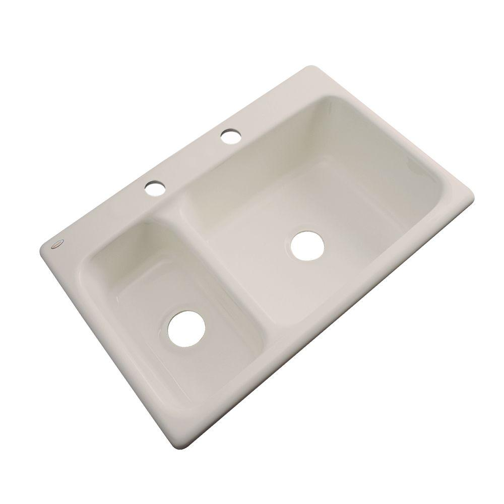 Thermocast Wyndham Drop-In Acrylic 33 in. 2-Hole Double Bowl Kitchen Sink in Desert Bloom