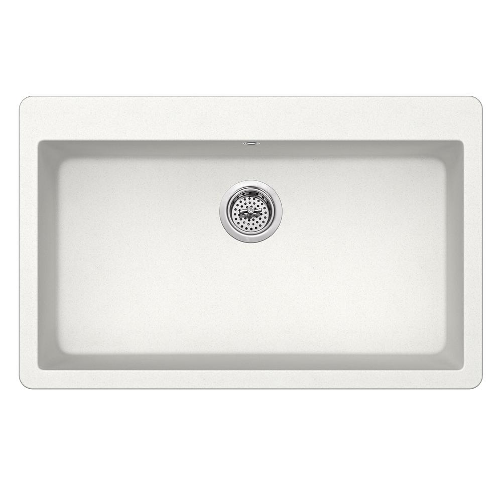 Dual Mount Quartz 33 in. Single Bowl Kitchen Sink in Alpine