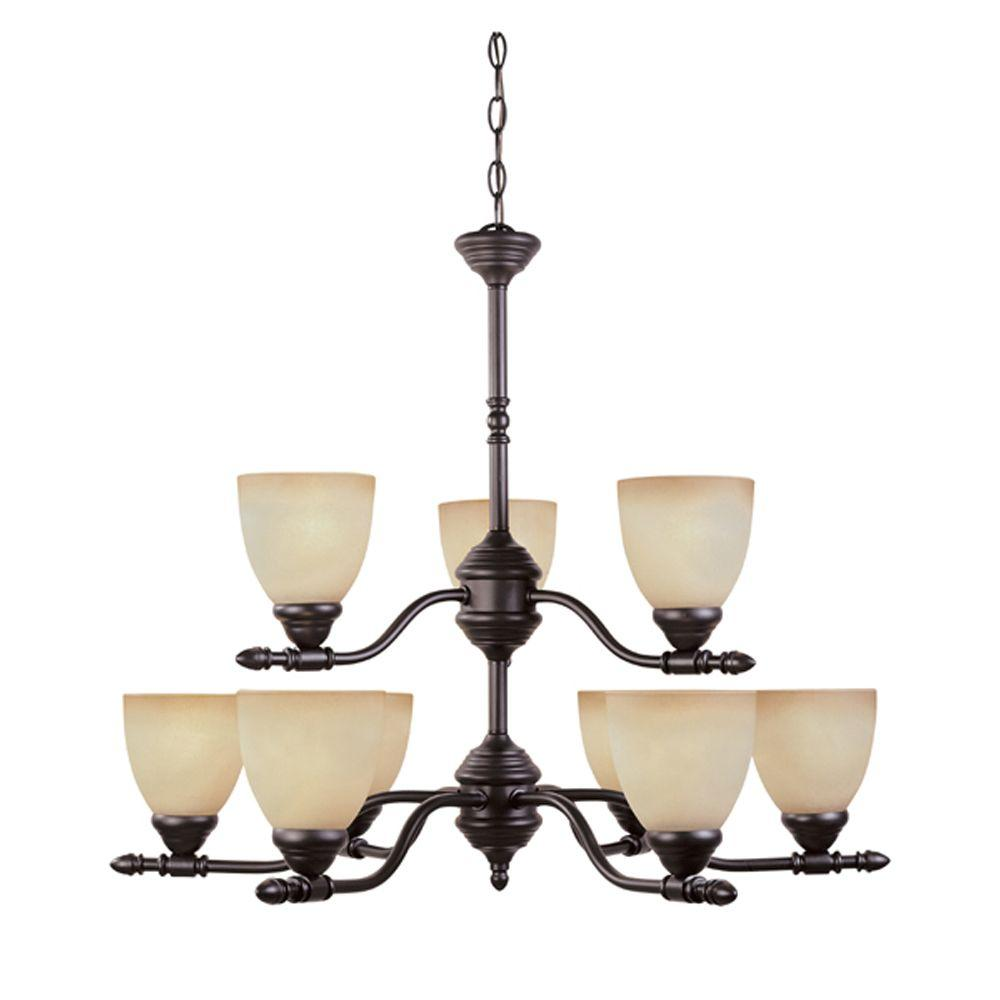 Branson Collection 9-Light Oil Rubbed Bronze Hanging Chandelier