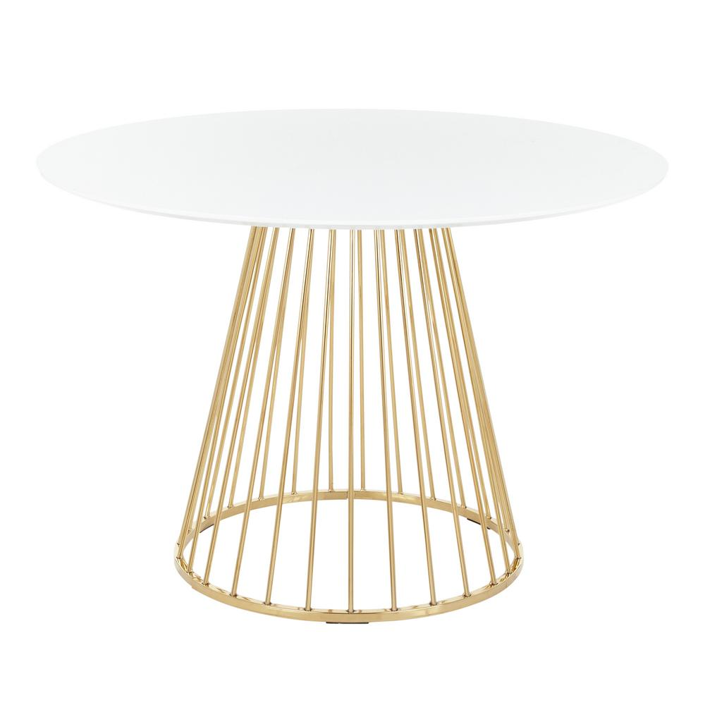 Lumisource Canary White And Gold Round Dining Table Dt Canary2 Auw The Home Depot