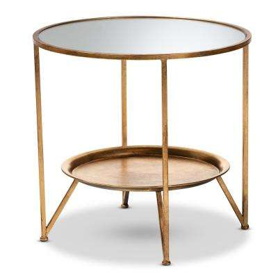 Tamsin Antique Gold Accent Table with Tray Shelf