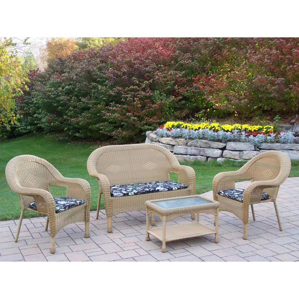 Honey 4-Piece Wicker Patio Conversation Set with Black Floral Cushions