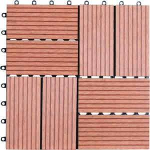 8-Slat 1 ft. x 1 ft. Composite Deck Tiles in Dark Tan (11 per Case)