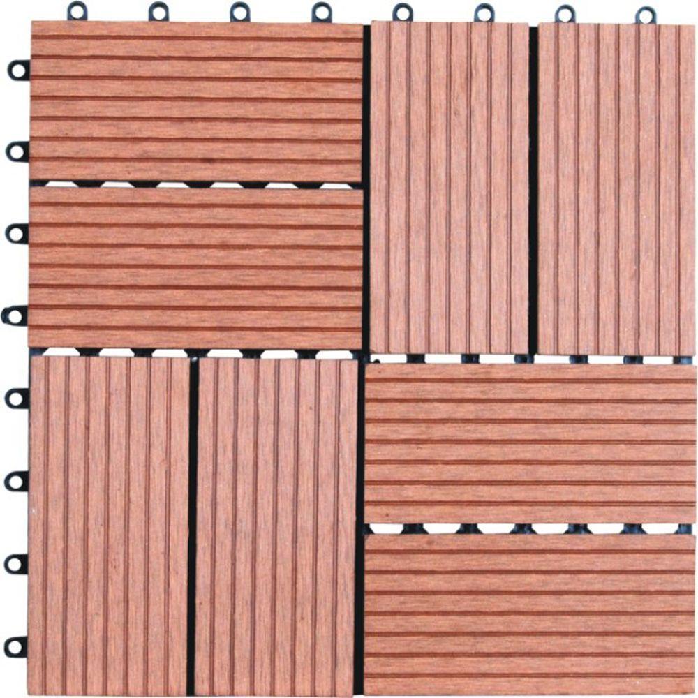 8-Slat 1 ft. x 1 ft. Composite Deck Tiles in Dark Tan (11 per Case)
