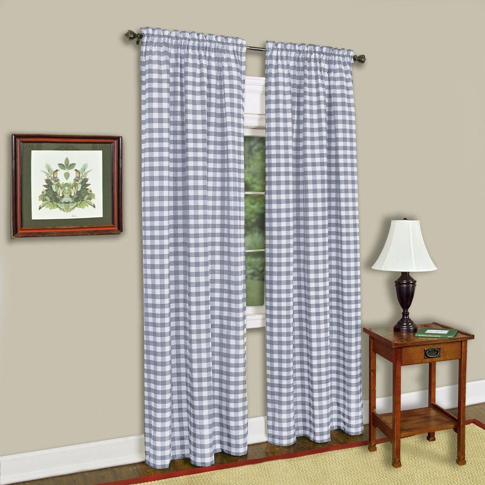 Sheer Buffalo Check Grey Window Curtain Panel - 42 in. W x 63 in. L
