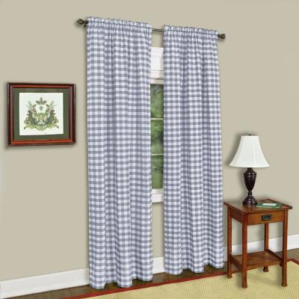 Sheer Buffalo Check Grey Window Curtain Panel - 42 in. W x 84 in. L