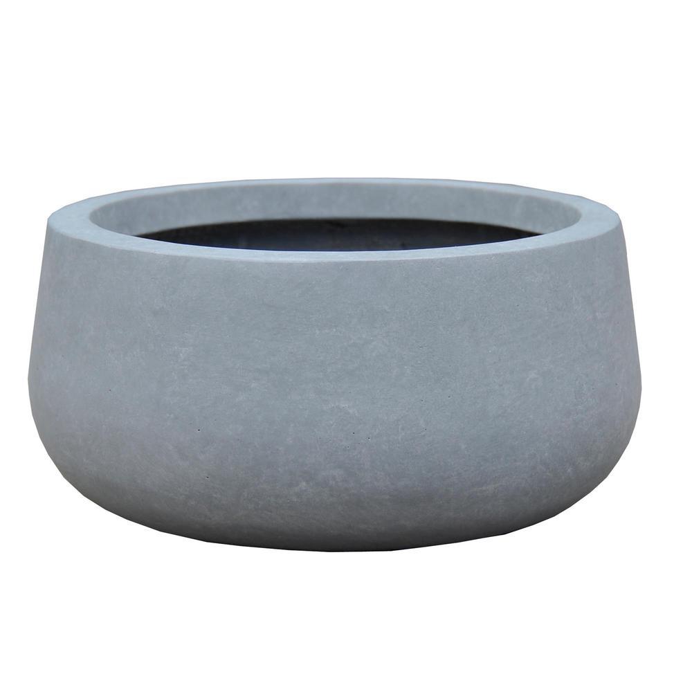 KANTE Medium 10 in. Tall Slate Gray Lightweight Concrete Round Outdoor Bowl Planter
