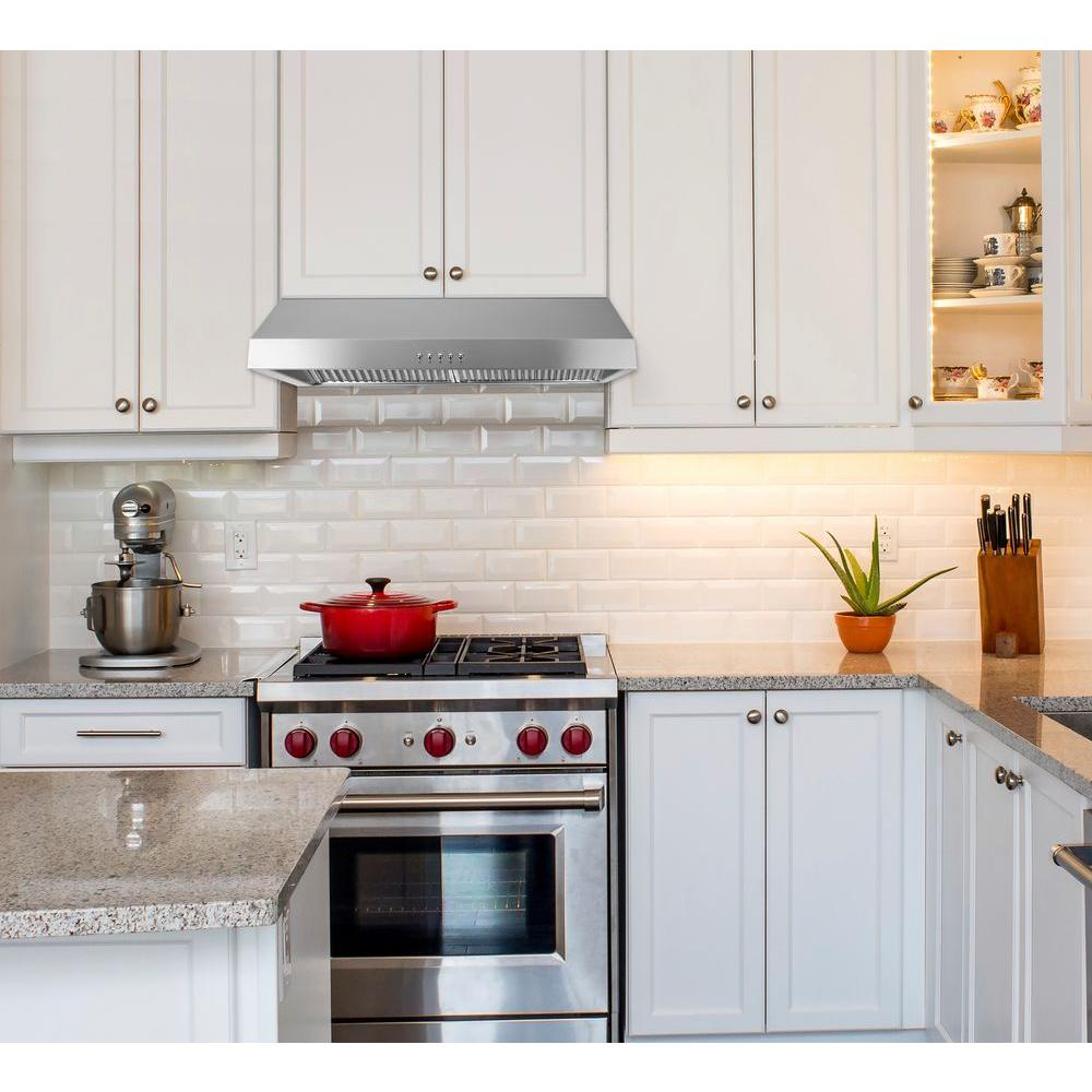 Presenza 30 in. Under Cabinet Ducted Range Hood with Light and Push Button  in Stainless Steel