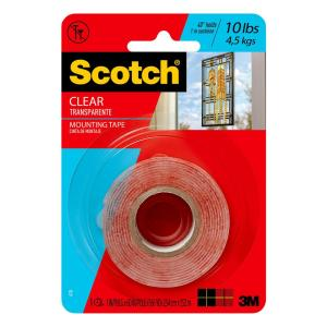 Click here to buy 3M Scotch 1 inch x 1.66 yds. Permanent Double Sided Clear Mounting Tape (Case of 12) by 3M.