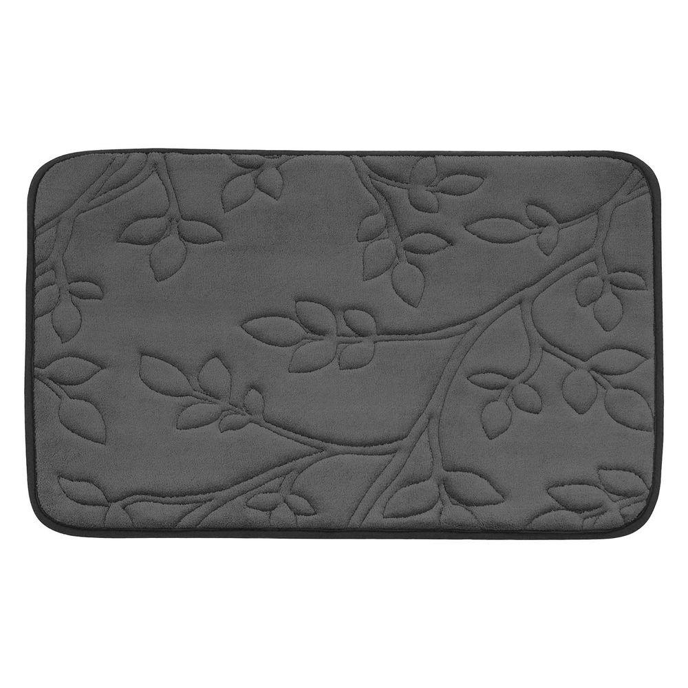 Spring Leaves Dark Gray 20 in. x 30 in. Memory Foam