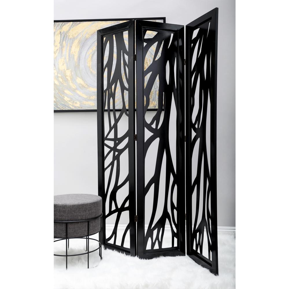 Dark Brown 4 Panel Room Divider