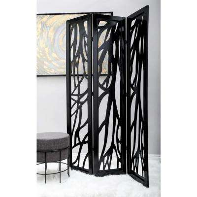 5 ft. 11 in. Dark Brown 4-Panel Room Divider