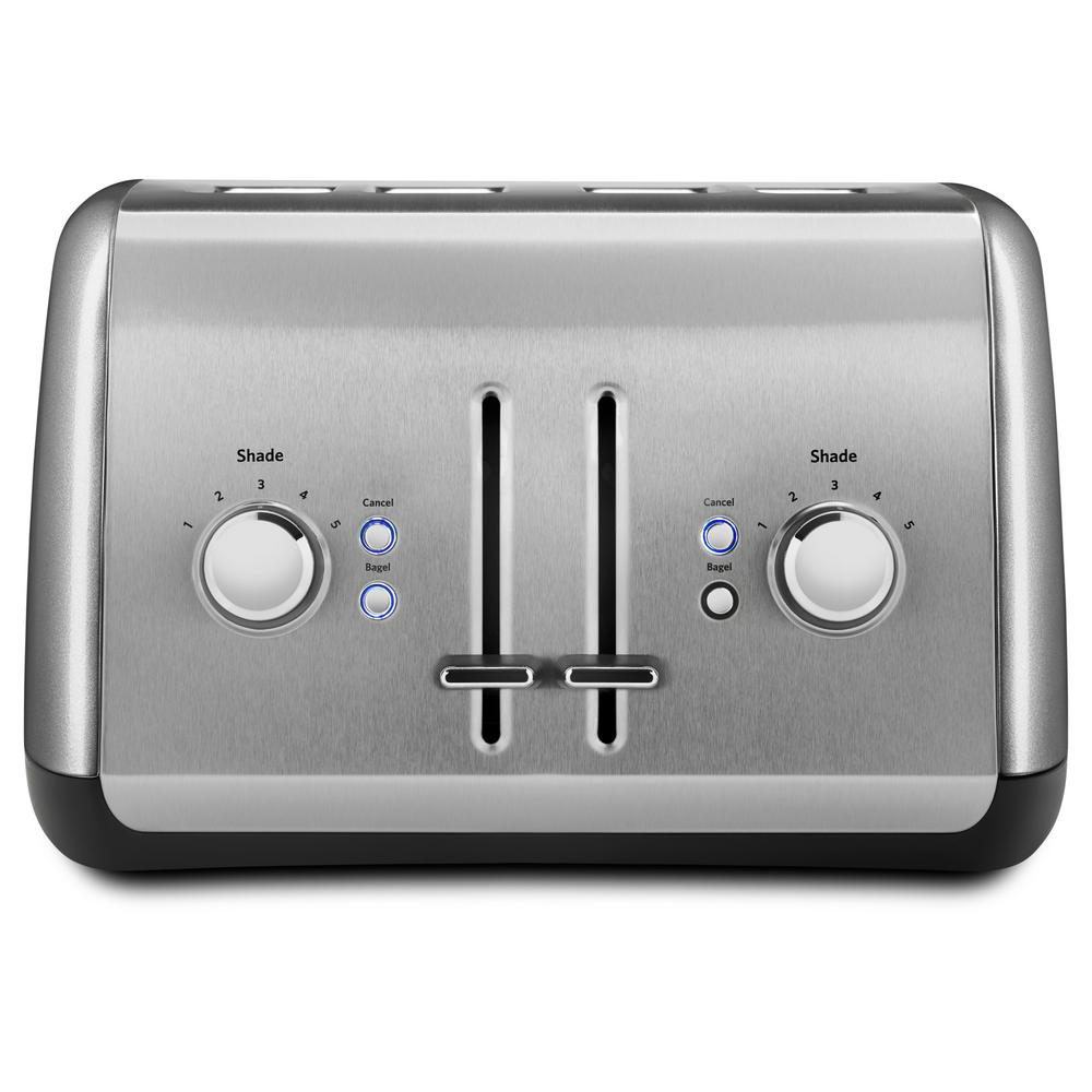 4-Slice Silver Wide Slot Toaster with Crumb Tray and Shade Control Settings