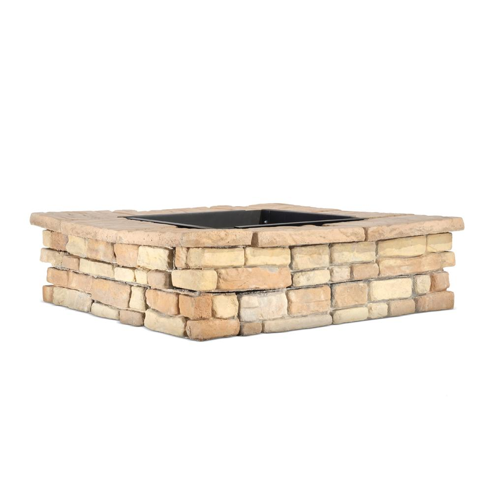 Natural Concrete Products Co 28 in. x 14 in. Steel Wood Random Stone Brown Square Fire Pit Kit