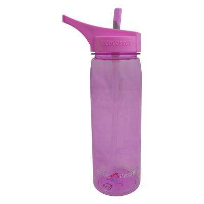 25 oz. Wave Tritan Plastic Bottle with Straw Top - Peony Pink