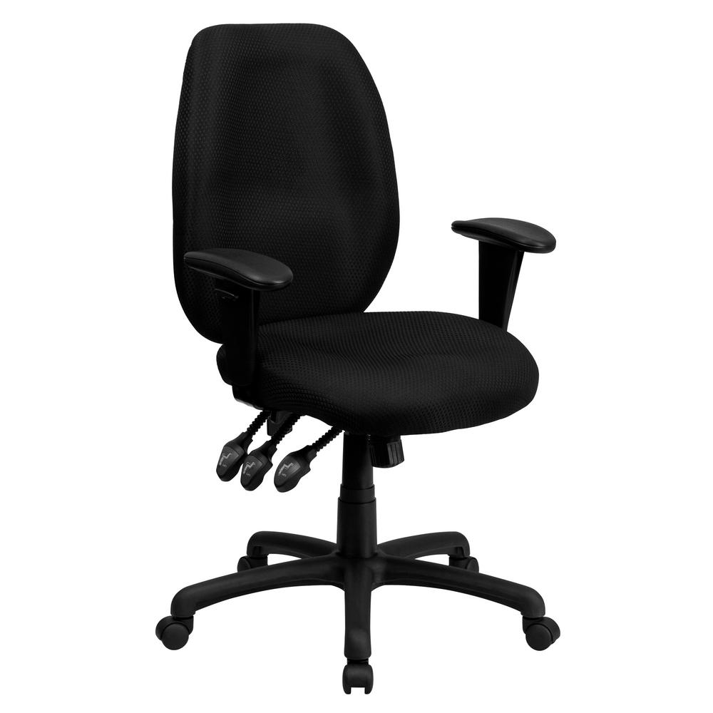 Flash Furniture High Back Black Fabric Multi-Functional Ergonomic Executive  Swivel Office Chair with Height Adjustable Arms-BT38HBK - The Home Depot