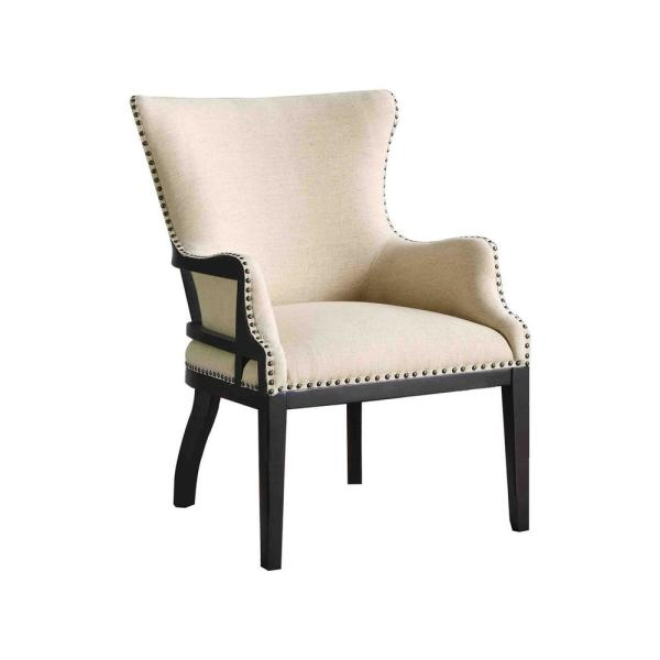 Lafayette Beige Linen with Nailheads Accent Chair